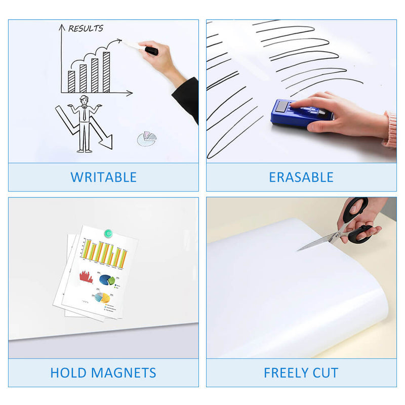 Thick White Board Sticker for Wall - Magnetic with Non-Adhesive Back