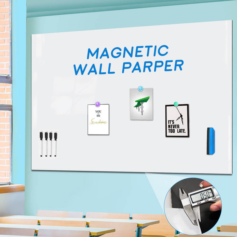 ZHIDIAN Whiteboard Contact Paper for Wall, Magnetic Receptive Dry Erase Board Sticker Sheet Wallpaper, Non-Adhesive Back