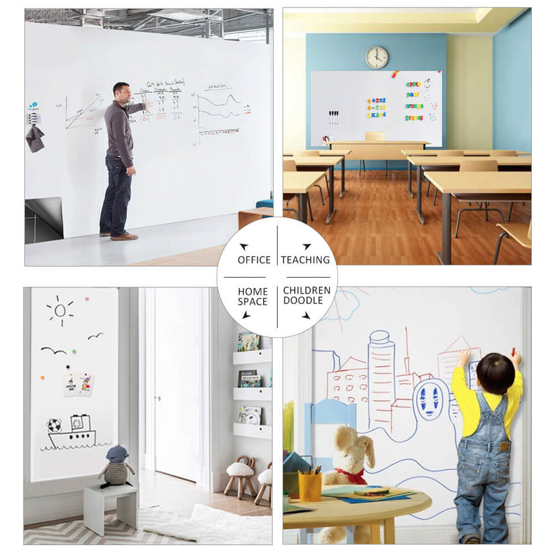 "ZHIDIAN Magnetic Whiteboard Sticker, 72"" x 48"" Dry Erase Whiteboard Contact Paper for Wall, Dry-Erase Board Wallpaper for School/Office/Home, Includes 4 Markers, Non-Adhesive Back"