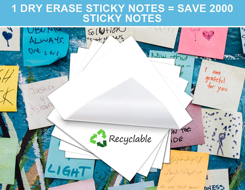 Dry-Erase Sticky Notes Pads, Self-Stick Removable Whiteboard Stickers