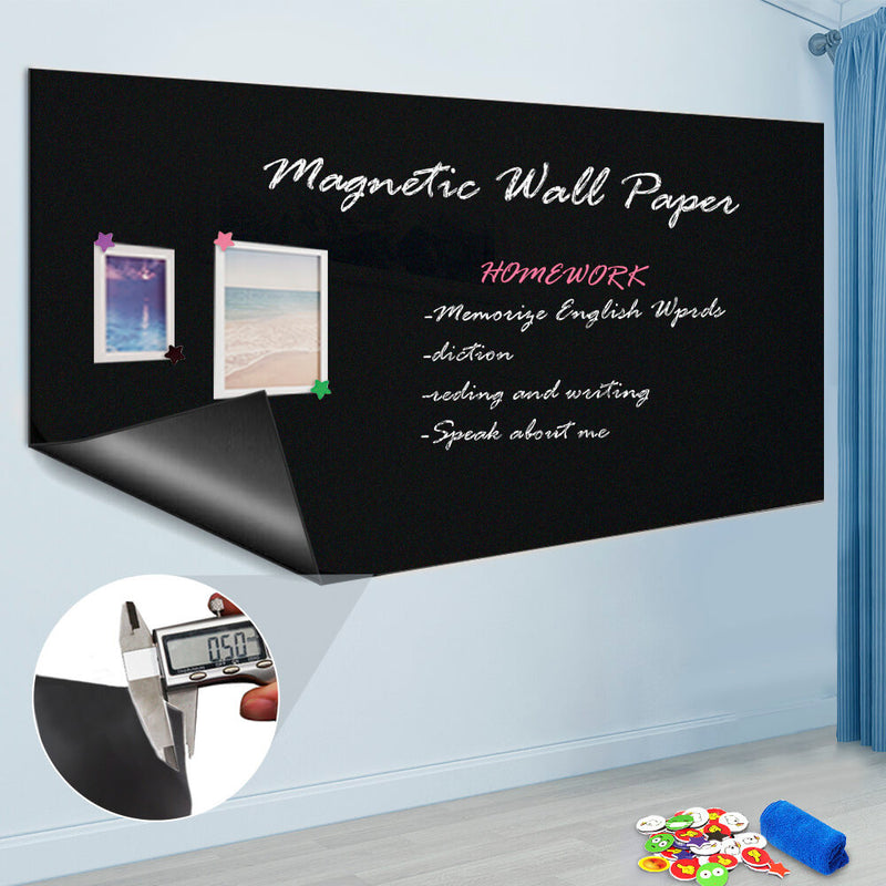 Self Adhesive Chalkboard Wall Sticker, Magnetic Receptive Blackboard Thick Contact Paper with Chalks, Peel and Stick Chalknetic Chalkboard Roll for School, Office, Home