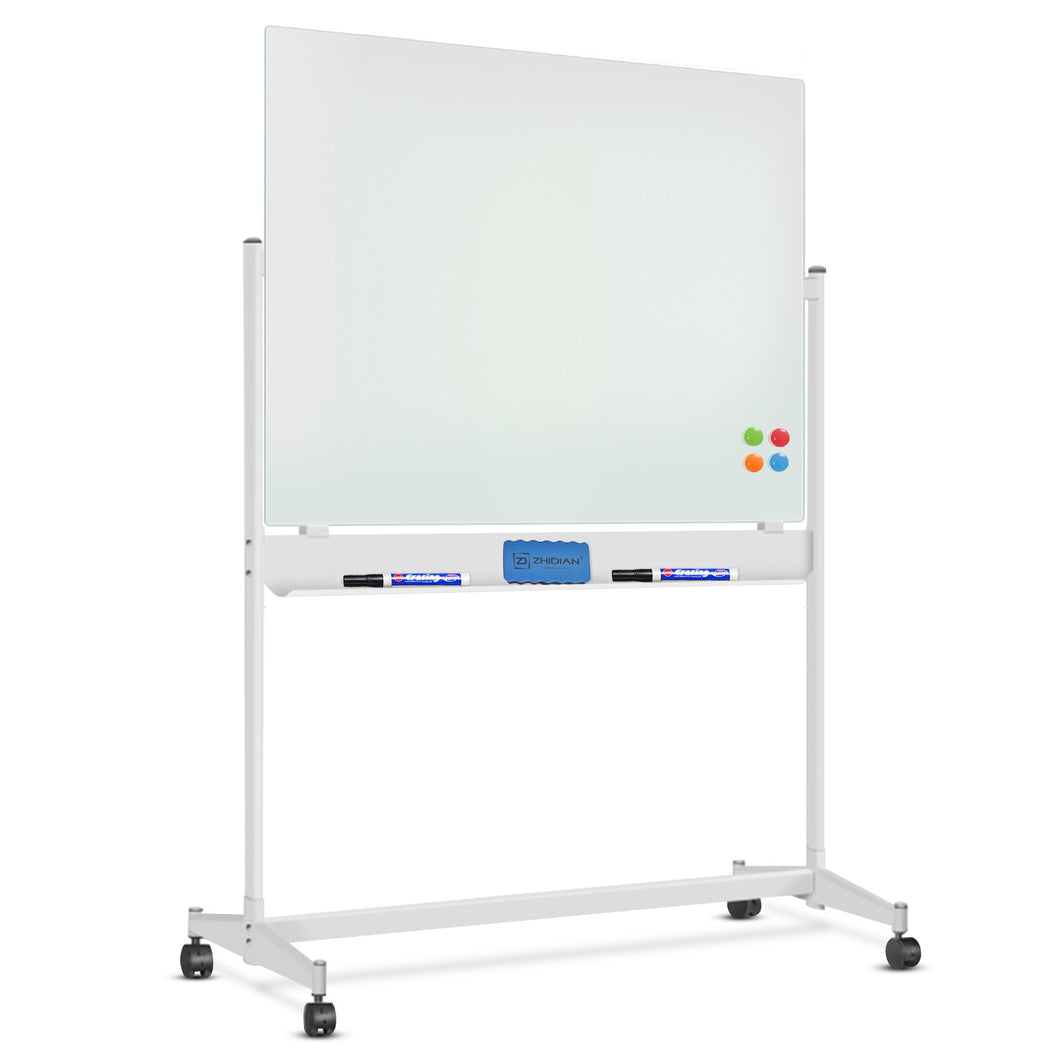ZHIDIAN Mobile Glass Dry Erase Board with Stand - 48 x 36 Inches, Large Magnetic Glass Whiteboard