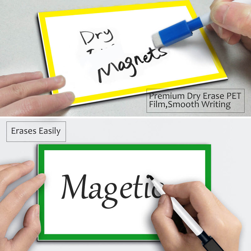 Magnetic Dry Erase Labels Ultra-Large - 6 x 3.5 Inch - 5Pcs Rectangle Name Plates Tags White Board Writable Flexible Magnet Stickers for Whiteboards Refrigerator