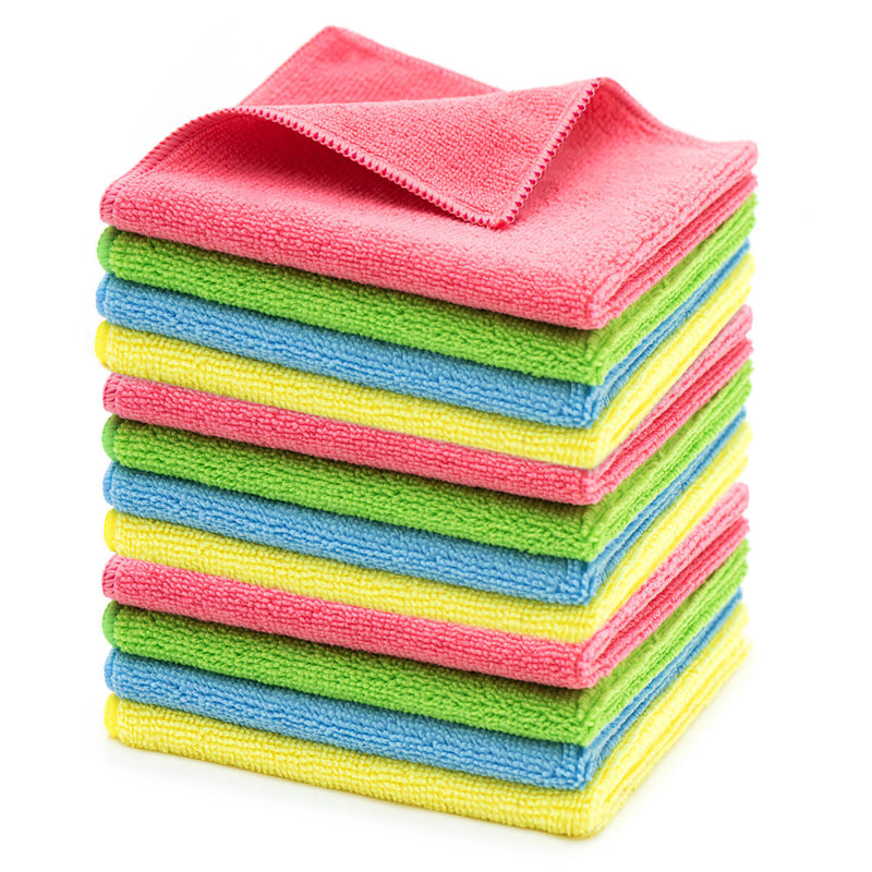 MAKUANG Microfiber Cleaning Cloths, Highly Absorbent Towels, Reusable Softer All-Purpose Cloth for Home Kitchen, Lint-Free and Streak-Free Rags for Car Glass, Assorted Colors, 12 x 12 in, Pack of 12