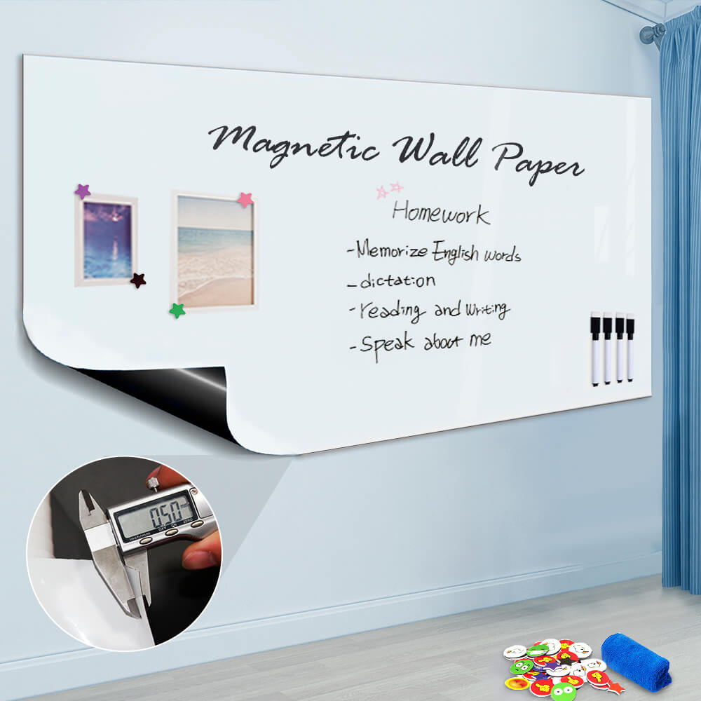 "ZHIDIAN Magnetic Whiteboard Sticker, 36"" x 24"" Dry Erase Whiteboard Contact Paper for Wall, Dry-Erase Board Wallpaper for School/Office/Home, Includes 4 Markers, Non-Adhesive Back"