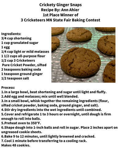 Crickety Ginger Snap Cookie Recipe 1st Place Cookie in 3 Cricketeers MN State Fair Baking Contest