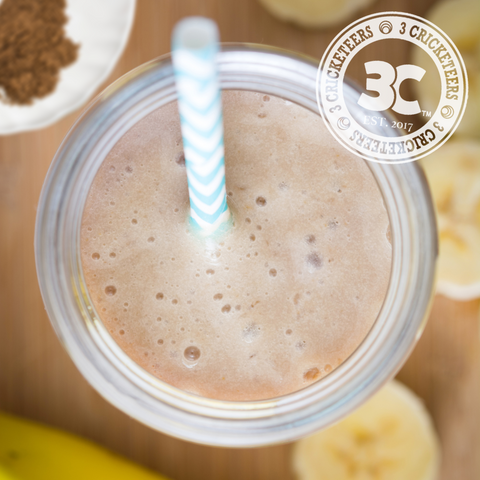 Banana Cricket Oat Smoothie by 3 Cricketeers made with 3 Cricketeers Pure Cricket Protein Powder