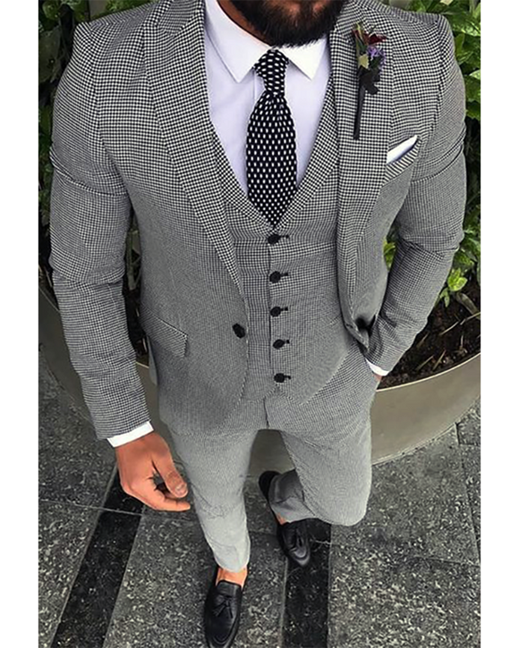 Peak Lapel Men's Dress Suits Outfit ,Houndstooth jacket Blazer Sports Suits ,Wedding Suits 3 Pieces CB01129