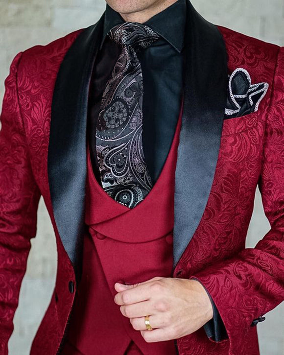 Stylish 2020 Jacquard Shawl Lapel Slim Fit 3 Pieces Wedding Tuxedos Suits for Men ,Costume Homme Burgundy/Royal blue (Jacket+Pants+vest))