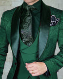 Classyby Shawl Lapel Jacquard Prom Suits for Men 2020 ,Wedding Tuxedos 3 Pieces (jacket+vest+pants)Color for  Burgundy/Blue/Green
