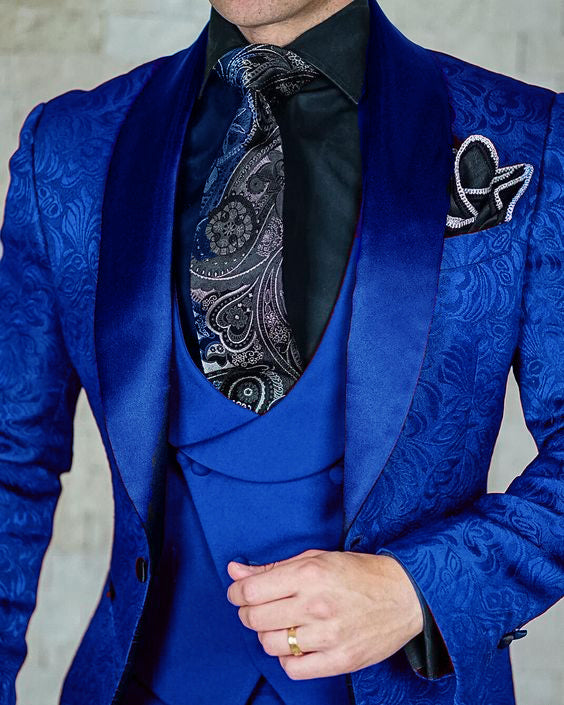Classyby Peak Lapel Jacquard Prom Suits for Men 2020 ,Wedding Tuxedos 3 Pieces (jacket+vest+pants)Color for  Burgundy/Blue/Green