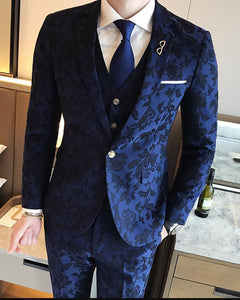 Classic Royal Blue Flower Wedding Suits For Men jacquard  Blazer Groom Suit Tuxedos Prom Party Suits