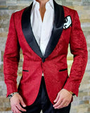 Slim Fit Red Jacquard Paisley Pattern 2 Pieces Wedding Suits for Men Tuxedo with Black Shawl Lapel CB0901
