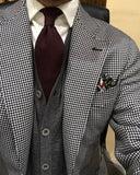 Houndstooth Men's Blazer Suits 2019 Two Pieces Tuxedo (Jacket+black pants)