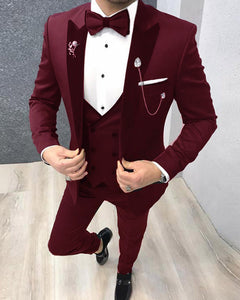 Velvet Lapel Burgundy Tuxedos Groomsmen Suits for Men 3 Pieces (Jacket+vest+Panst)CB01222