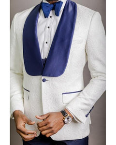 Classyby Ivory Jacquard Wedding Suits for Men with Blue Lapel, Latest Prom Tuxedos 2 Piecs(Jacket+pants)CB784