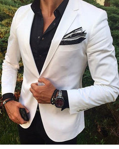 Handsome Men Fashion Slim Fit White Blazer with Black Pants Dress Party Suits Outfit CB5510