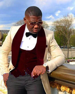 Champagne/Burgundy Blazer Men Wedding Suits three pieces(jacket+burgundyvest+blackpants)