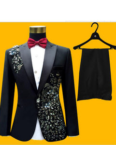 Black  Embroidered Prom Dress Suits Stage Singer Costume Homme Mens Suits With Pants