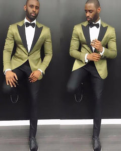 Young Men Suits 2019 Notch Lapel Groom Wedding Tuxedos 2 Pieces Arm Green Satin Men Party Tuxedo With Black Pants