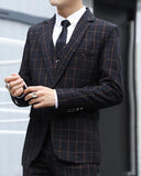 Slim Fit Royal Blue /Black Men One Button Plaid suit Tuxedo for Prom/Wedding CB6645