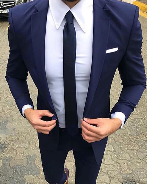 Navy Blue Groomsmen Wedding Suit two Pieces (jacket +pants)