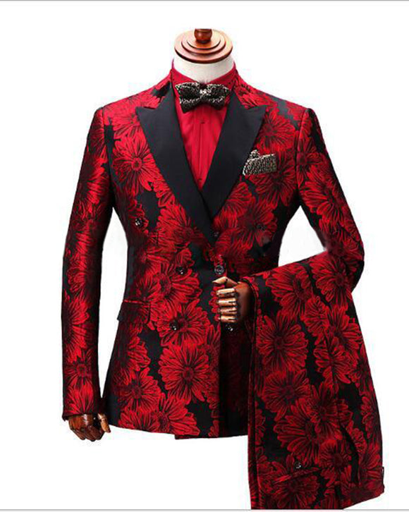 2020 Doublue Breasted Floral Groom Wedding Suit Men Terno Masculino Tuxedo Prom Party Tuxedos CB6688