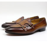 Men Loafers Black Brown  LeatherMonk Strap Men's Dress Shoes Wedding Party