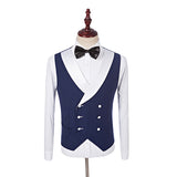 ClassyBy  Groomsmen White Shawl navy blue Lapel Men Wedding Suits Tuxedos  3 Pieces WX123