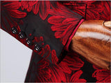 2020 Doublue Breasted Red Black Floral Groom Wedding Suit Men Terno Masculino Tuxedo Prom Party Tuxedos CB6688