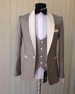 Brown/White Shawl Lapel 3 Pieces  Groom Wedding Tuxedos Men Dress Suits  One Button (Jacket+waistcoat+pants)