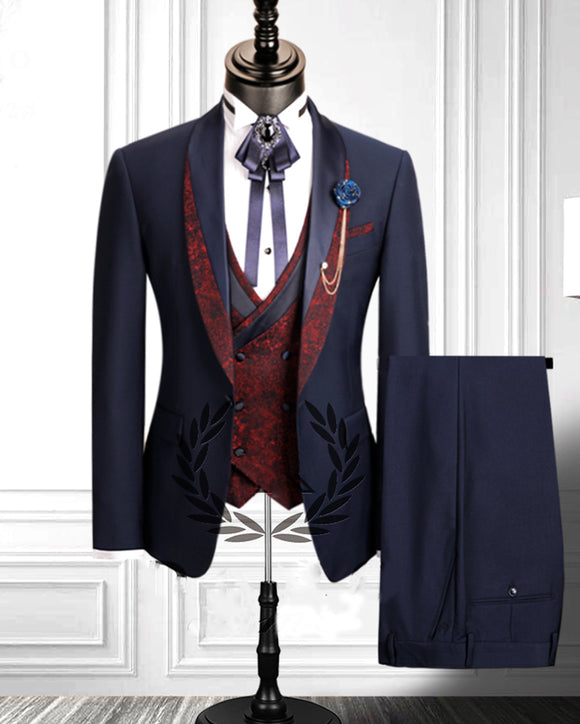 Groom Wedding Dress Suits Mens Tuxedo navy blue Bridesgroom Suit Dinner Party Fitting Suit 2020 CB0627