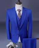 Blue suits for men wedding groom tuxedo 3 pieces men suits for prom