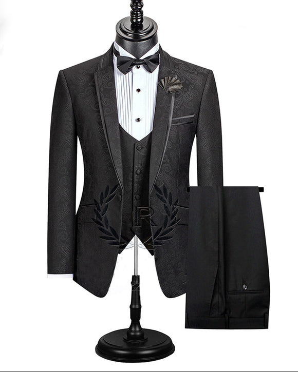 Black Paisley Jacket Dinner Suits 3 Pieces Tuxedos for Men CB0703