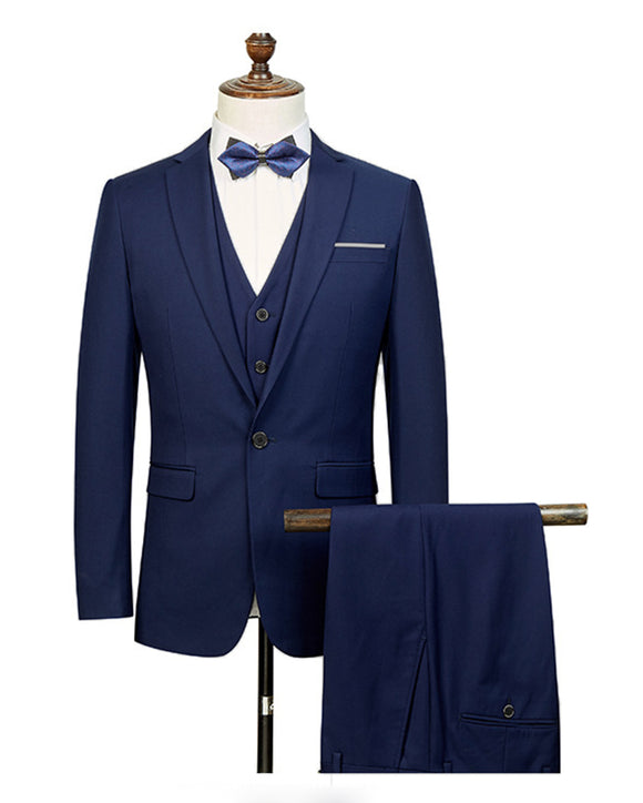 Slim Fit Navy Wool Mens Suits Groom Tuxedos formal Meanswear 3 Pieces (Jacket+vest+pants)