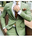 Peak Lapel Emerald Green Groomsmen Suit Prom Tuxedo 2 Pieces(Jacket +Pants)
