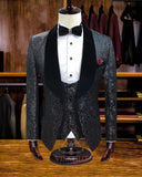 Ivory/Black/Red Jacquard Wedding Tuxedos Velvet Lapel Men Suits for Groom 3 Pieces (jacket+vest+pants))