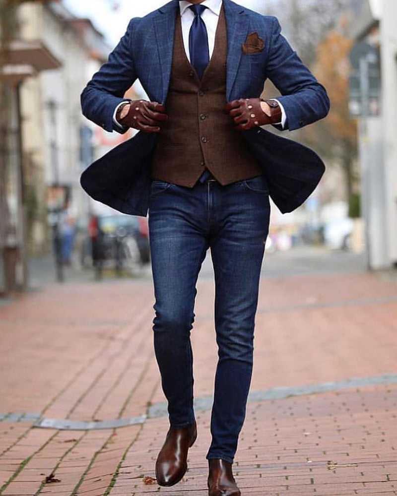 lace up in special promotion exceptional range of styles Navy Men Suit Plaid Wedding Formal Wear Suits & Blazer CB221