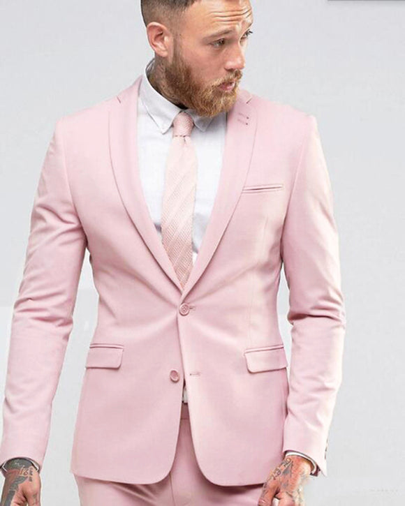 Pale Pink Men Suit Slim Fit Party Dress Groomsmen Tuxedo For Beach Wedding Young 2 Pieces Suits (Jacket+Pants)