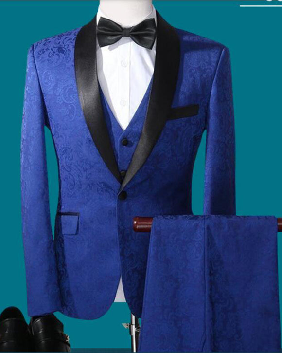 Jacquard Pattern Roayl Blue Tuxedos for Men ,Wedding Prom Suits 3 Pieces CB08164