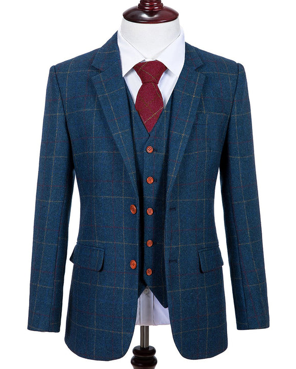 Wool Navy Blue Plaid Tweed Tailor Made Men 3 Pieces suit Blazers Retrowedding suits for men(jacket +pants +vest))CB0827