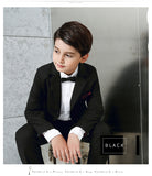 Blue/Black Boys suits for weddings Kids /Little Groom Suit 3 Pieces(Jacket vest pants)