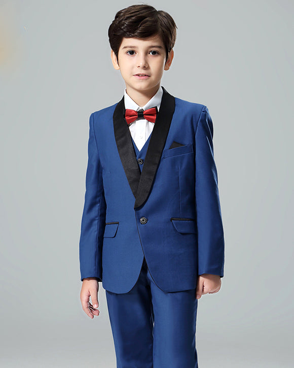 Little Boy Wedding Suit Blue/Black Shawl Lapel (Jacket+vest+pants)