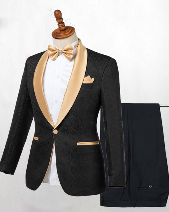 Black Jaquard Wedding Suits Blazer with Champagne  Shawl Lapel  2 Pieces Groom/Groomsmen Formal Dress men out fit