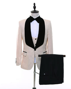Beige Shawl Lapel Groom Blazer Suit for Men prom Tuxedos WX124