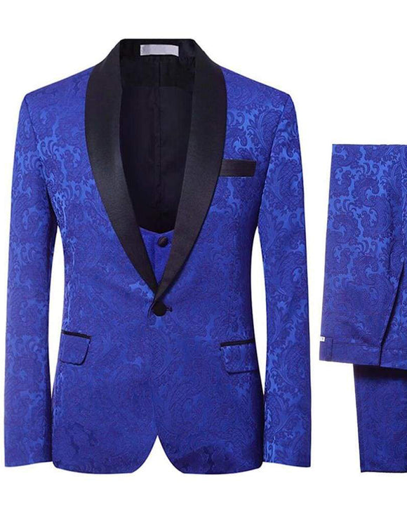 Royal Blue Jacquard 3 Pieces Slim Fit Shawl Lapel Wedding Tuxedos for Men Party  Formal Suits CB0429