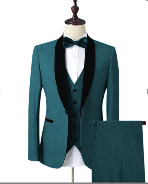 Ocean See Blue Prom Suits for Men ,Shawl Lapel Slim Fit Tuxedos for Wedding (Jacket +pants +Vest)CB10273