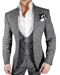 Dark Gray 3 Pieces Casual Sports Suit Tweed Jacket  Suits for Men CB0521