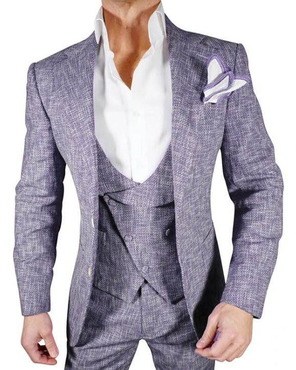 Mauve Purple Tweed Sport Jacket Suits for Men Casual Sports Coat for Wedding Guests CB0522