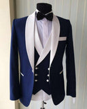 Blue/White Groomsmen Suit Men's Wedding Tuxedo Three Pieces (Jacket+pants +vest)